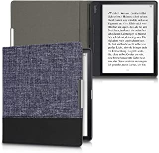 kwmobile Case for Kobo Forma - PU Leather and Canvas Protective e-Reader Cover Folio Case - Dark Blue/Black