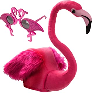 Tigerdoe Flamingo Hat and Glasses- 2 Pc Set- Pink Flamingo Costume- Beach Party- Flamingo Party Accessories