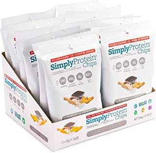 SimplyProtein Chips, Salt and Pepper, Pack of 12, Gluten Free, Non GMO, Vegan
