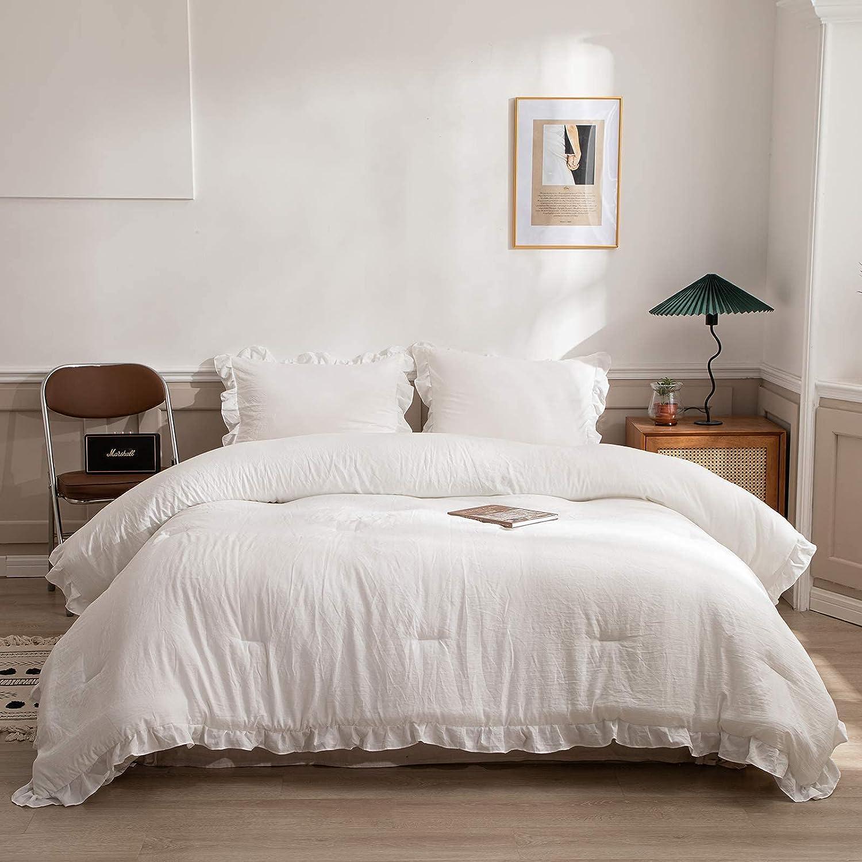 Merryword Offwhite Ruffle Comforter F Spring new Surprise price work White Set