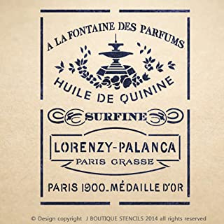 J BOUTIQUE STENCILS Huile De Quinine Vintage Stencil for Painting Signs Crafting DIY Wall Decor - Artistic Stencil