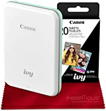 Canon Ivy Mini Mobile Photo Printer (Mint Green) with Canon 2 x 3 Zink Photo Paper and Microfiber Cloth