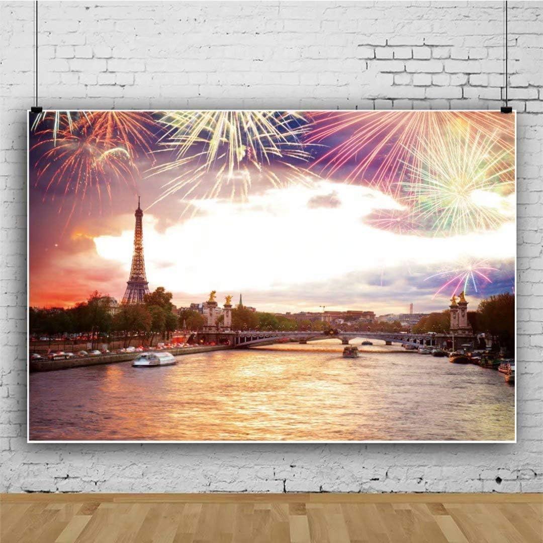 OFILA Paris Fireworks Party Backdrop Polyester Fabric 7x5ft New Year Photos Background Alexandre III Bridge Eiffel Tower Shoots New Year Festival Celebration Fireworks Display Xmas Photos Props