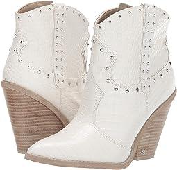 Bright White Kenya Croco Embossed Leather