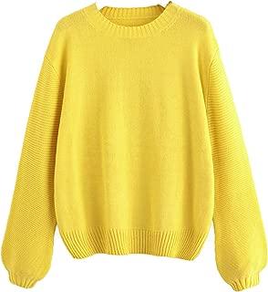 Milumia Women's Round Neck Lantern Sleeve Soft Knit Pullover Jumper Sweater