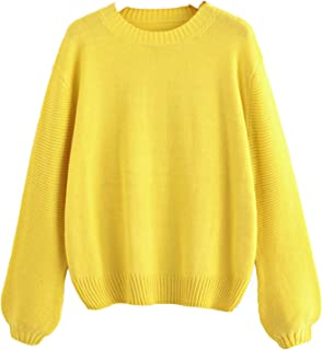 Milumia Women's Round Neck Lantern Sleeve Soft Knit Pullover Jumper Sweater