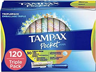 Tampax Pocket Pearl Plastic Tampons, Regular/Super/Super Plus Absorbency Triplepack, 120 Count, Unscented (30 Count, Pack ...