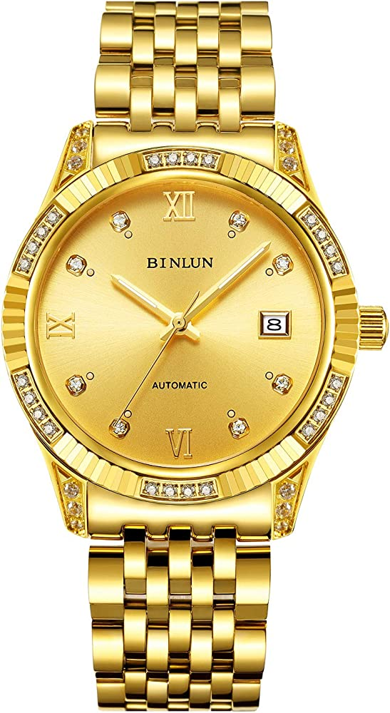 Binlun orologio automatico da uomo in acciaio inossidabile 316l BL0018G-SGG-G