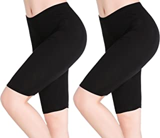 CnlanRow Womens Under Skirt Pants Soft Ultra Stretch Knee Length Leggings Fitness Sport Shorts