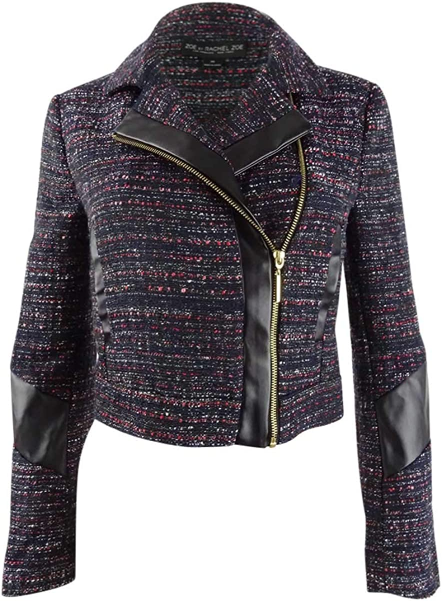 Rachel Zoe Womens Faux Leather Moto Jacket