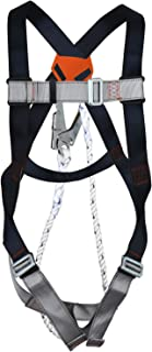 """Safety Harness Fall Protection Kit, Construction Full Body System, With 3.2 ft Lanyard Size up To 42"""" Waist, 22KN"""