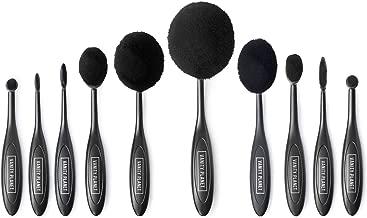 Vanity Planet Blend Party Oval Makeup Brush Kit - Flexible Handles, Synthetic Bristles - Set of 10, Midnight Black