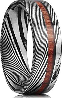 King Will Warriors Mens 8mm Black Damascus Steel Wedding Ring with Ebony Wood Inlay Flat/Dome Style