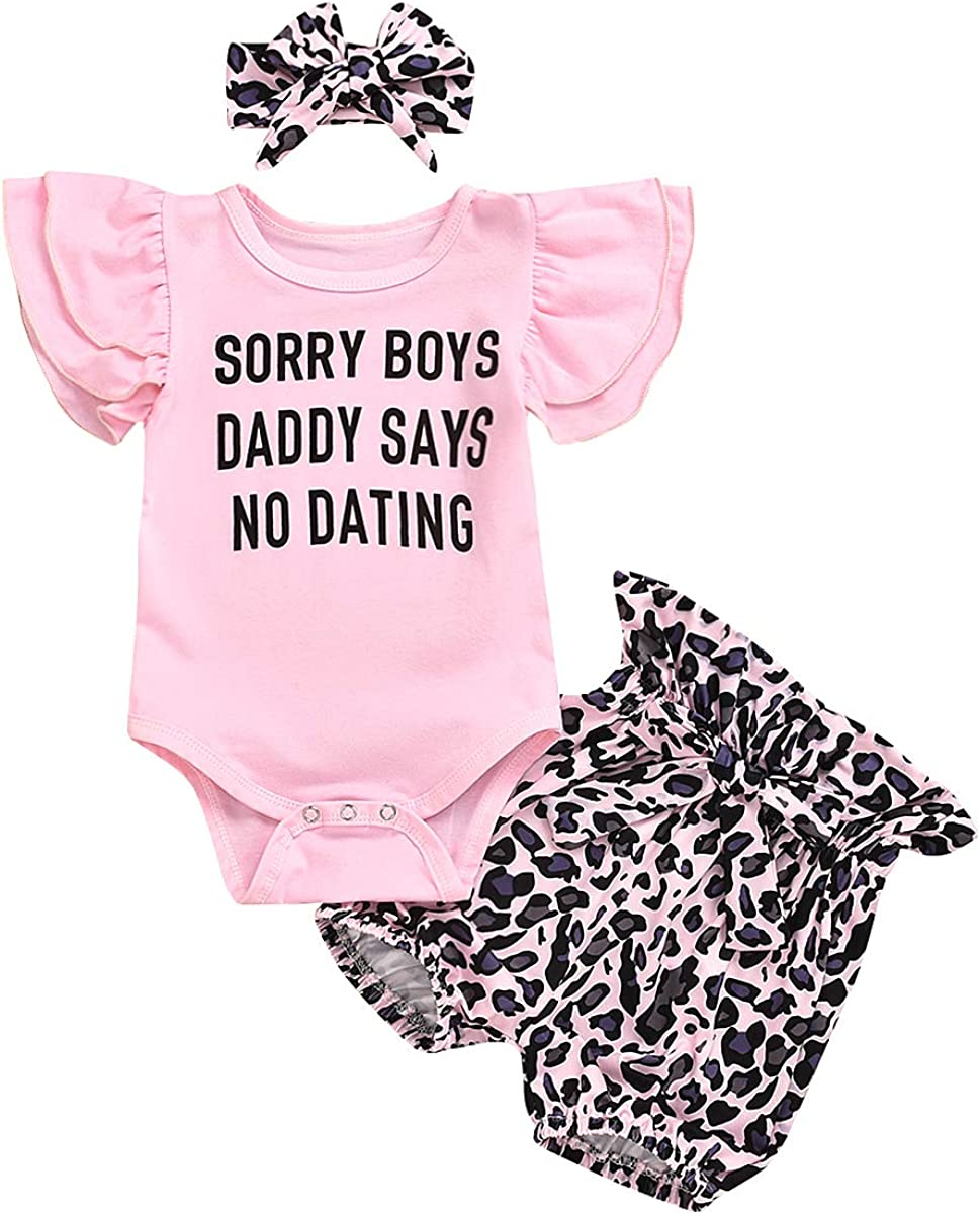 Toddler Baby Girl Clothes Spring Summer Outfits Pink Romper T-Shirt Tops Leopard Print Shorts/Pants/Skirts Headband Set