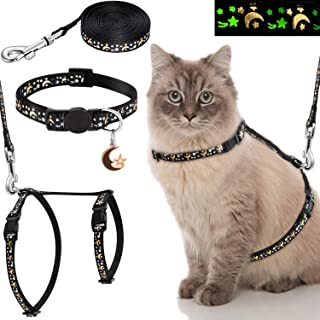 Frienda 3 Pieces Cat Harness with Leash and Collar Set Adjustable Soft Escape Proof H Shaped Safety Strap with Golden Moon...