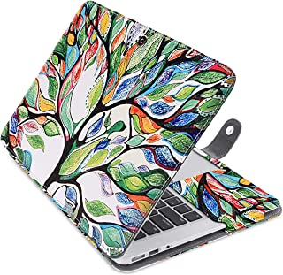 MOSISO Case Only Compatible with MacBook Air 13 Inch A1466 / A1369 (Older Version Release 2010-2017), Premium PU Leather Book Folio Protective Stand Cover Sleeve, Love Tree