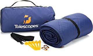 Talescapes Large Outdoor Waterproof Camping Blanket – 78 x 55 inch – All Weather Warm Fleece Stadium Blanket with Bag for Sports Events Picnic Car Beach Travel – Bonus Stakes and Carabiners