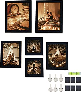 Art Street Set of 6 Individual Black Wall Photo Frames Wall Picture Frame with Free Hanging Accessories ||Mix Size||2 Units 5x5, 2 Units 6X8, 2 Units 8x10 inches||