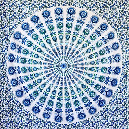 MOMOMUS Tapiz Mandala Bohemio - 100% Algodón, Grande, Multiuso - Plaid/Foulard/Tela/Colcha Ideal como Cubre Sofá/Cama - 210x230 cm Azul-Verde