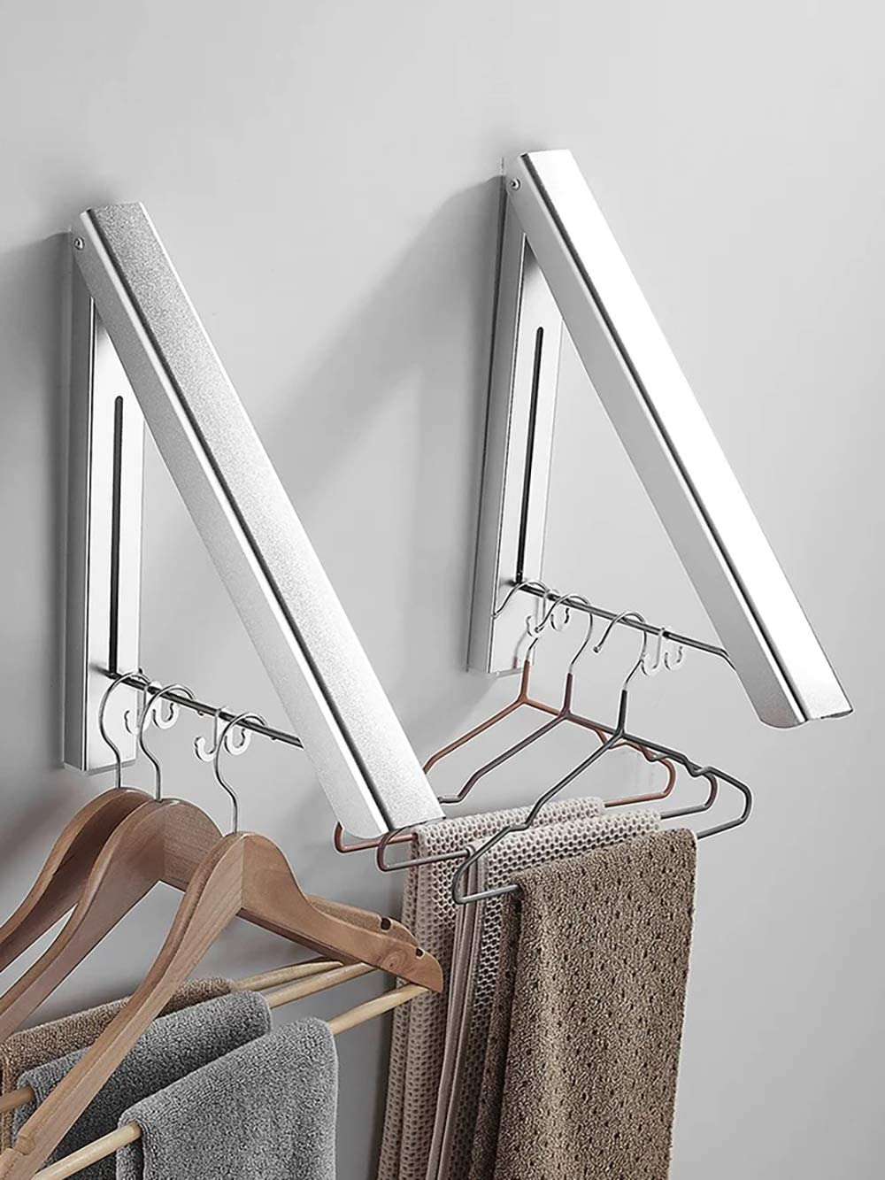 MISSMIN 2 Pack Retractable Clothes Rack Fort Worth Mall - C Sales for sale Mounted Folding Wall