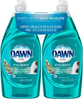 Dawn Ultra Dishwashing Liquid, Escapes New Zealand Springs Scent, 21.6 Ounce (Pack of 2)