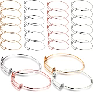 28 Pieces Expandable Bangle Bracelet Adjustable Wire Blank Bracelet Women Jewelry Making Bangle with Black Bag for Women and Girls, 4 Colors