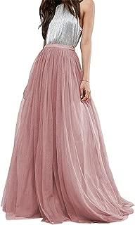 Women Wedding Long Tulle Skirt Dress Bridal Bridesmaids Floor Length High Waisted Maxi Tutu Party Dress