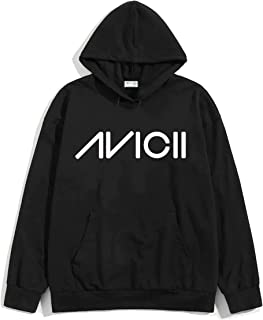 The SV Style Unisex Black Hoodie with White Print: Avicii/Printed Black Hoodie/Graphic Printed Hoodie/Hoodie for Men & Women/Warm Hoodie/Unisex Hoodie
