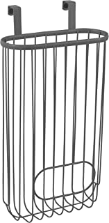 Spectrum Diversified 58876 Ashley Over The Cabinet Kitchen Storage Organizer Basket Plastic Recycling Shopping Bag Holder, One, Industrial Gray