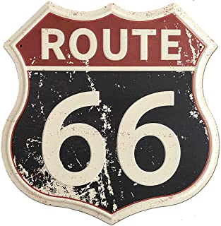 SUDAGEN Route 66 Signs Vintage Road Signs with Polygon Metal Tin Sign for Wall Decor Art 12