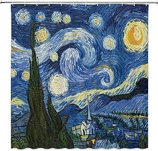 LIVEFUN Van Gogh Starry Night Shower Curtain Oil Painting Abstract Art Blue Sky White Cloud Star Moon Scenery Bathroom Dec...