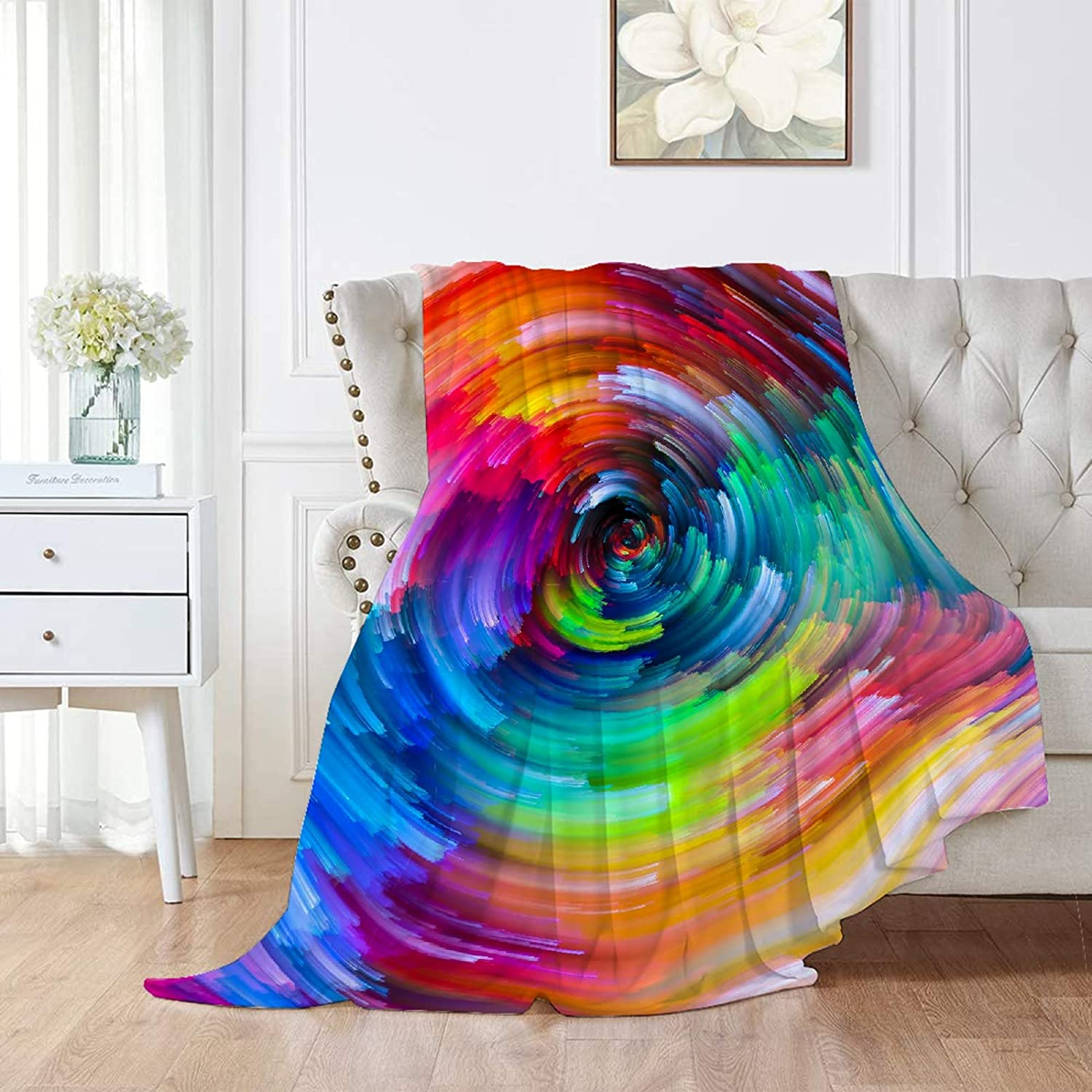 Rainbow Flannel Blanket Throw New Free Shipping Fuzzy King Size Gifts for Super Soft Bed