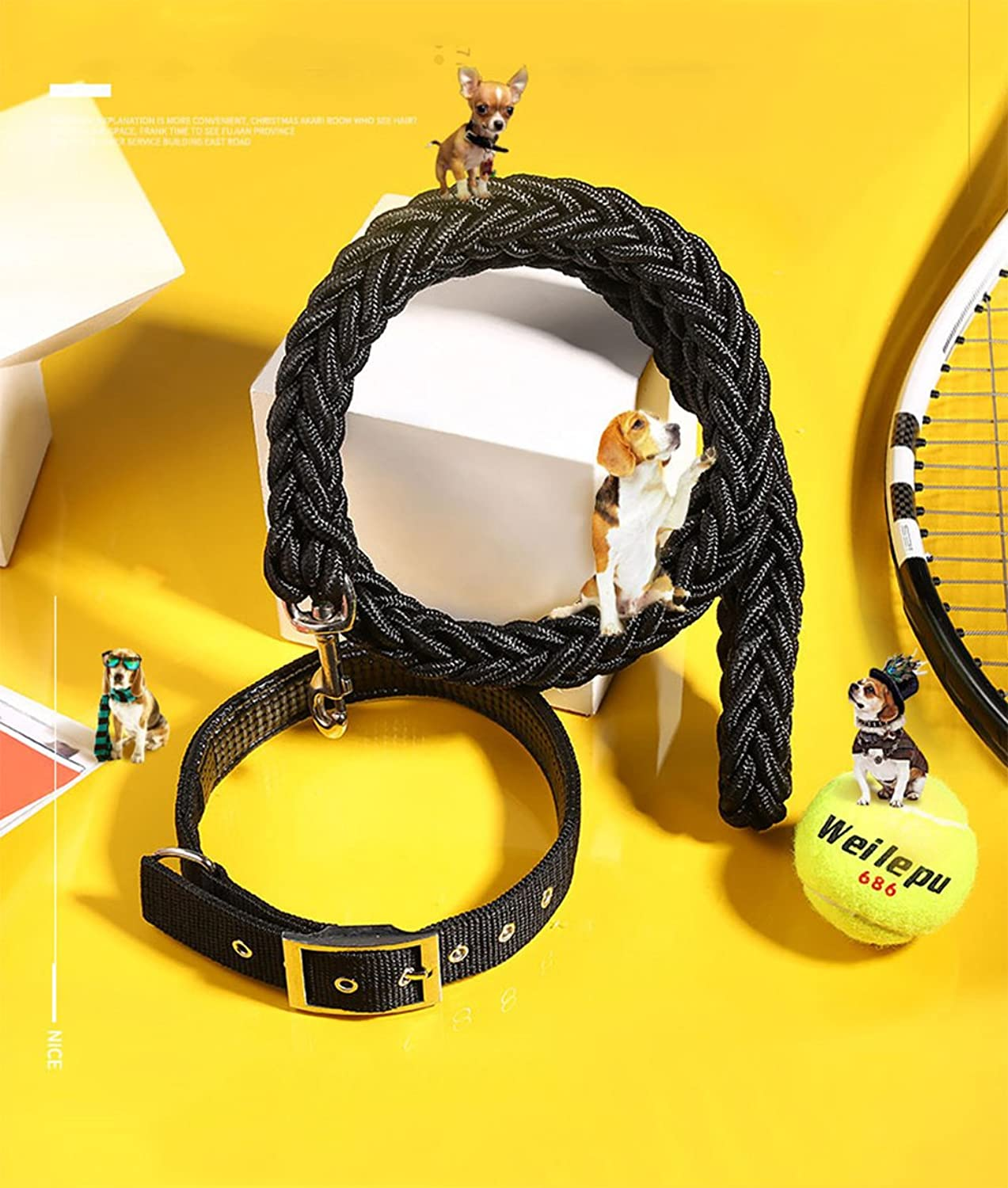 Bungee Double Dog Connector Lead, Wrapped Dog Leash and Shunter Walking Puppy Medium and Large Dogs (Black)