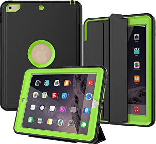 iPad 5th/6th Generation Case, SEYMAC Smart Case [Protective Cover] with Auto Sleep Wake Function, Three Layer Drop Protection Rugged/Heavy Duty Case for 2017/2018 New iPad (Green)