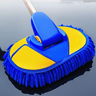 Car Wash Brush with Long Handle, Chenille Microfiber Car Wash Mop (Extension Pole Adjustable Length 24in-38in) Car Duster Washing Supplies Brushes Cleaning Tool 90 Degrees Rotation for Washing Car