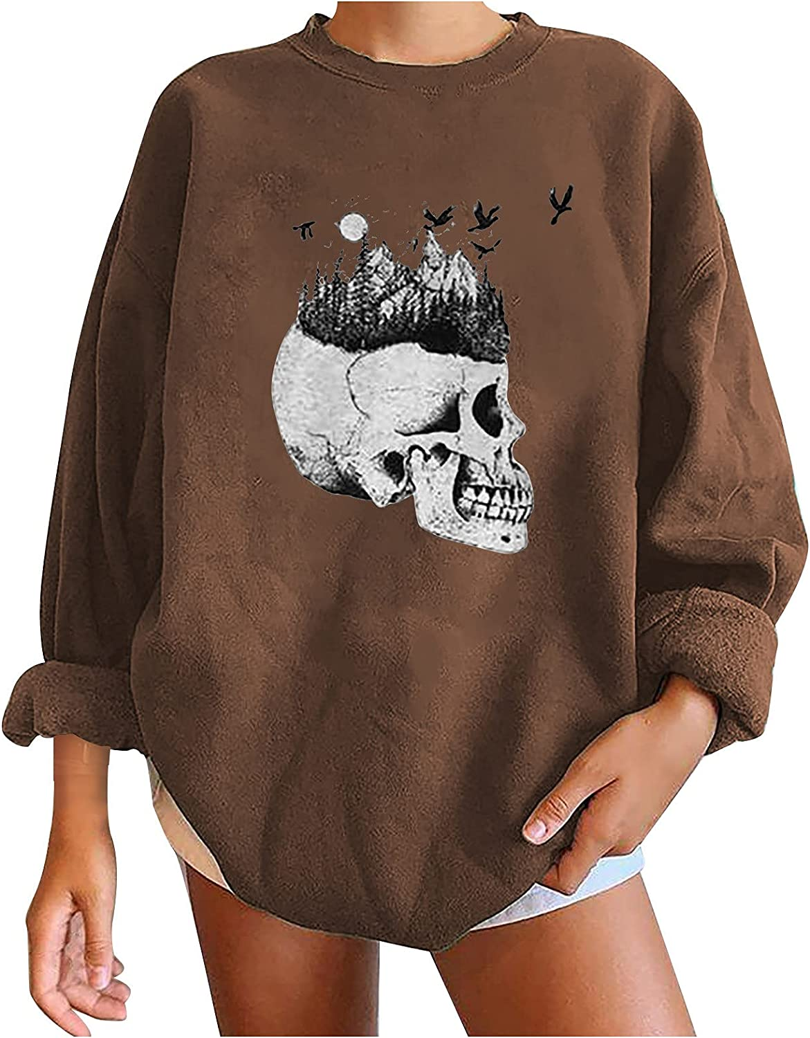 Halloween Printted Oversized Baggy Sweatshirt Pullover for Women Casual Funny O Neck Long Sleeve Sweatshirt Tops Blouse