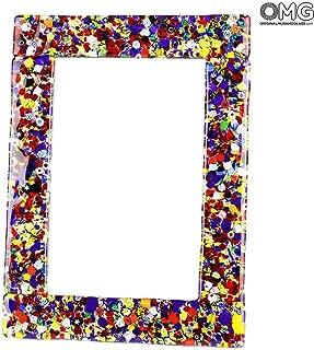 Original Murano Glass OMG Photo Frame Fantasy - Millefiori and Golden Leaf Medium - 19x14cm 7.4x5.5 inc