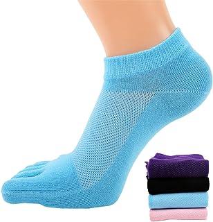 4 pares de calcetines de malla para mujer, estilo casual, para correr, cinco dedos