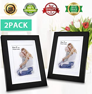 5x7 Picture Frames (2 Pack Black) 5x7 Photo Frame Made of Solid Wood 5x7 Wood Frame Display on TableTop 5x7 Photo Frame for Wall Mount 4x6 Photo w/Mat in Picture Frame 5x7 Photo w/o Mat in Wood Frame