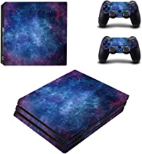 eSeeking Full Body Protective Vinyl Skin Decal for PS4 Pro Console and 2PCS PS4 Pro Controller Skins Stickers Purple Nebula
