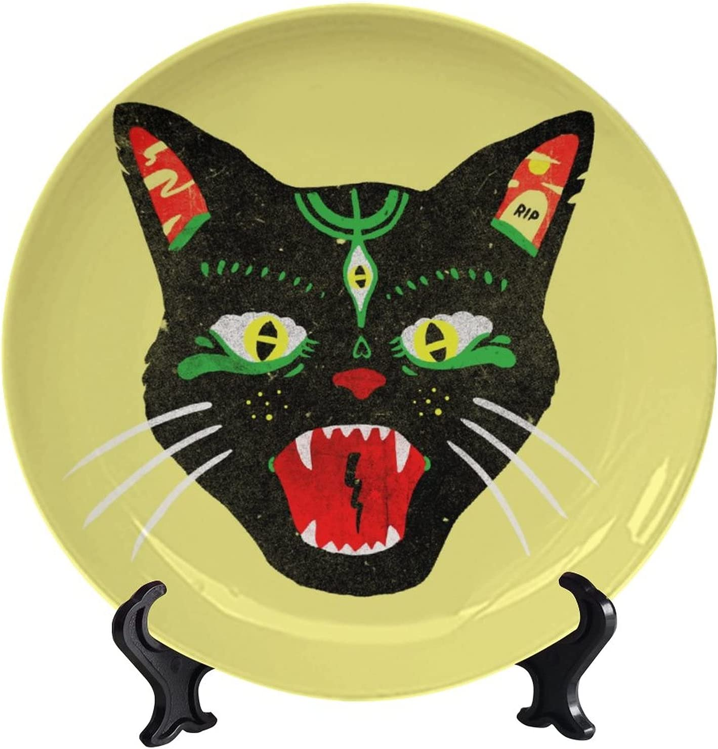 wonderr 5% OFF Decorative Ceramic Plates Hellcat D Las Vegas Mall Funny Art Animal