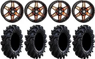 Bundle - 9 Items: STI HD7 18 Wheels Orange/Black 36 Intimidator Tires [4x156 Bolt Pattern 12mmx1.5 Lug Kit]