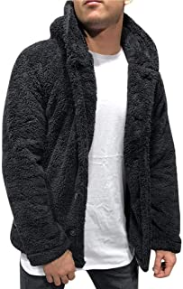 2019 Winter Men Fleece Open Front Cardigan Fashion Button Warm Tops Big and Tall Solid Casual Long Sleeve Coat Outwear