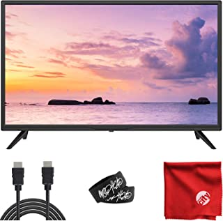 Sansui 32-Inch 720p HD DLED TV (S32P28) Slim Lightweight with Built-in HDMI, USB, VGA, High Resolution Bundle with Circuit City 6-Foot Ultra High Definition 4K HDMI Cable & Accessories (4 Items)