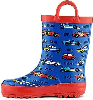K KomForme Kids Girl Boy Rain Boots, Waterproof Rubber Printed with Handles