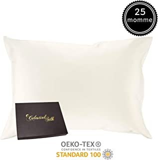 100% Silk Pillowcase for Hair Zippered Luxury 25 Momme Mulberry Silk Charmeuse Silk on Both Sides of Cover -Gift Wrapped- (Queen, Natural Undyed White)