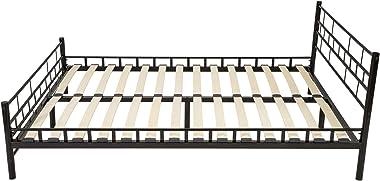 TecTake Lit en métal 140x200 cm, Cadre de lit avec sommier à Lattes, Noir