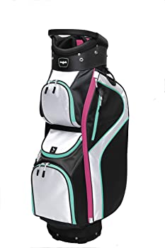 Majek Ladies Black White Teal Pink Golf Bag