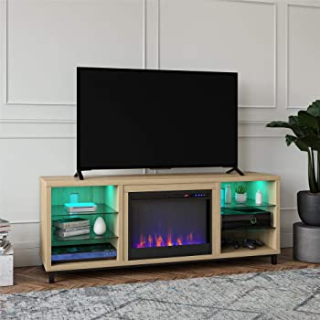 """Ameriwood Home Lumina Fireplace TV Stand for TVs up to 70"""" (Blonde Oak)"""