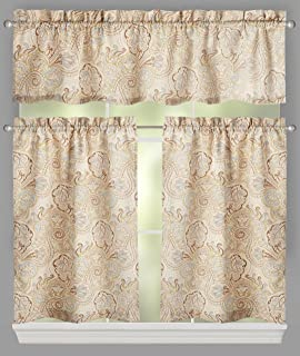 Traditions by Waverly Paddock Shawl Paisley Window Tier and Valance Set, 52-inch Width (Paddock Shawl)